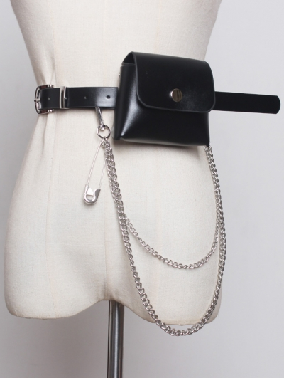 Black Gothic Punk PU Leather Pin Chain Belt with Bag