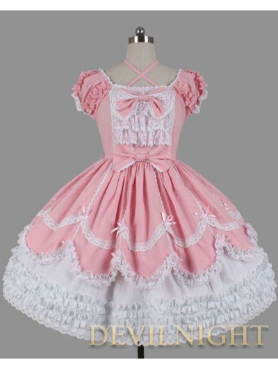 Pink and White Short Sleeves Lace Bow Sweet Lolita Dress