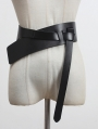 Black Gothic Simple Wide Leather Girdle
