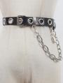 Black Gothic Punk Hoop Leather Belt with Detachable Lock