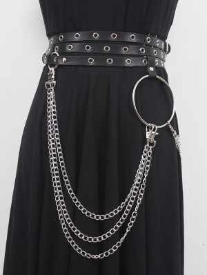 Black Gothic Punk PU Leather Belt with Hoop and Chain