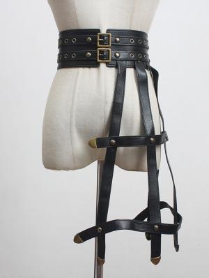 Black Gothic Punk PU Leather Rubber Band Leg Garter Belt