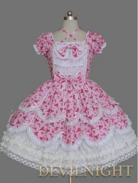 Floral Printed Pattern Short Sleeves Lace Bow Sweet Lolita Dress
