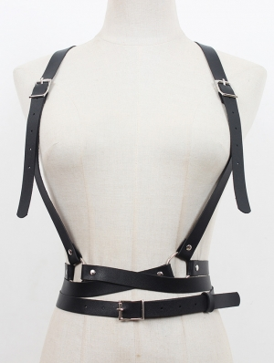 Black Gothic Punk PU Leather Simple Buckle Belt Harness