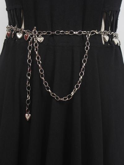 Silver Gothic Punk Metal Love Chain Belt