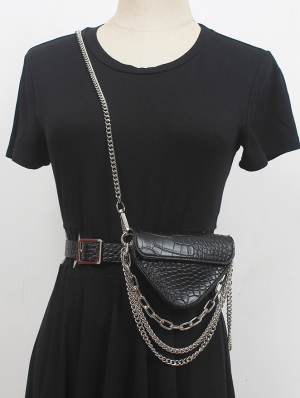 Black Gothic PU Leather Chain Belt with Messenger Bag