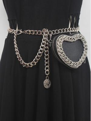 Black Gothic Punk PU Leather Metal Chain Belt with Detachable Bag