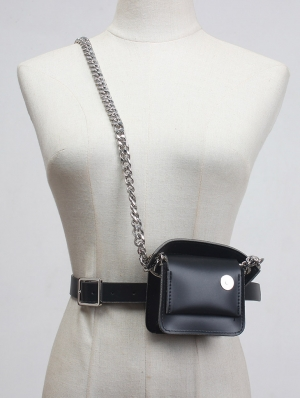 Black Gothic Punk PU Leather Chain Belt with Small Square Bag