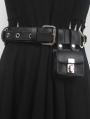 Black Gothic Punk PU Leather Metal Ring Belt with Mini Square Bag