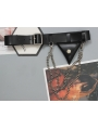 Black Gothic Punk Buckle Belt with  Detachable Chain and Triangle Bag