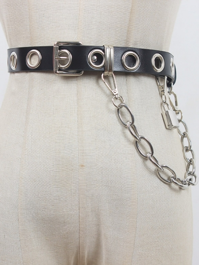 Black Gothic Punk Big Hoop Buckle Belt with Detachable Chain