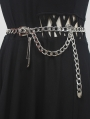 Steampunk Metal Chain Belt with Decorative Pin