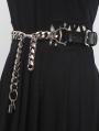 Black Gothic Punk Leather Thick Waist Chain Belt