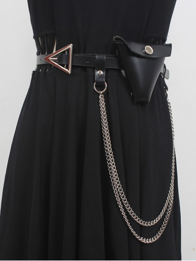 Triangular Buckle Thin Belt with Triangle Bag and Chain