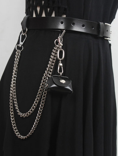 Black Gothic Punk Buckle Belt with Detachable Chain and Mini Bag