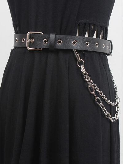 Black Gothic Punk PU Leather Double Chain Buckle Belt