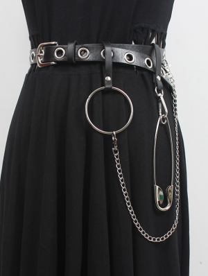 Black Gothic Punk PU Leather Decorative Pin and Buckle Belt