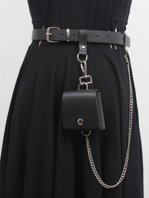 Black Gothic Punk Ring Chain Belt with Detachable Bag