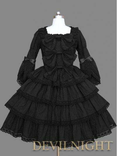 Black 3/4 Trumpet Sleeves Sweet Bow Gothic Lolita Dress