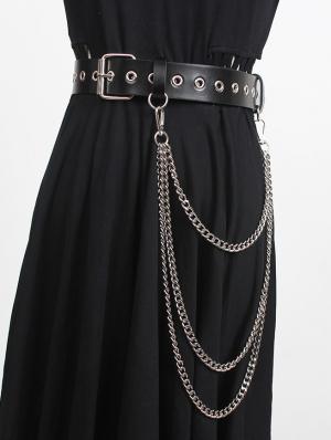 Black Gothic Punk Leather Layered Chain Belt