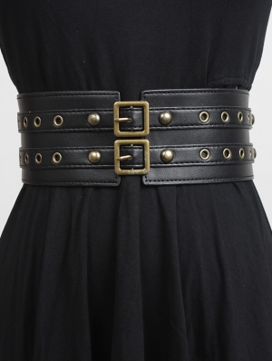 Black Gothic PU Leather Two Buckle Wide Girdle