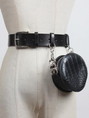 Black Gothic Punk Style Buckle Belt with  Irregular Chain Bag