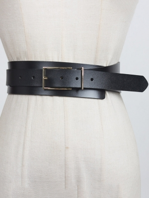 Black Gothic Leather Buckle Wide Girdle