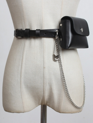 Black Gothic Punk Leather Pin Chain Belt with Detachable Bag