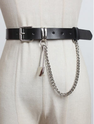 Black Gothic Punk Leather Pin Chain Buckle Belt