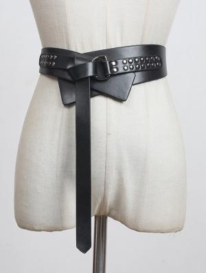 Black Gothic Punk Rivet Decoration PU Leather Wide Girdle