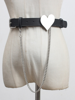 Black Gothic Punk Leather Heart Shaped Belt with Chain
