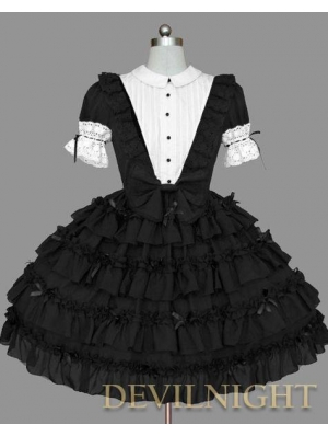 Black and White Short Sleeves Gothic Lolita Dress