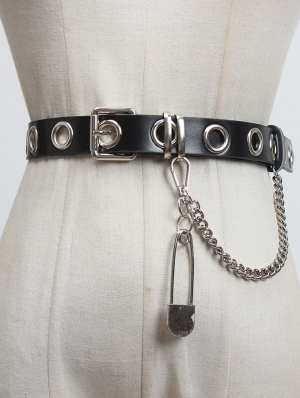 Black Gothic Punk Belt with Pin Chain