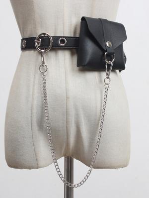 Black Gothic Punk PU Leather Chain Belt with Detachable Bag