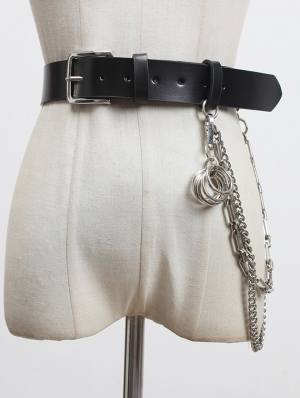 Black Gothic Punk PU Leather Wide Chain Belt with Metal Accessories