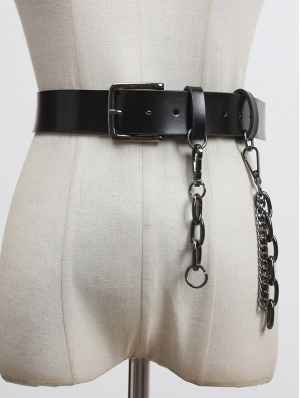 Black Gothic Punk PU Leather Wide Buckle Belt  with Metal Chain