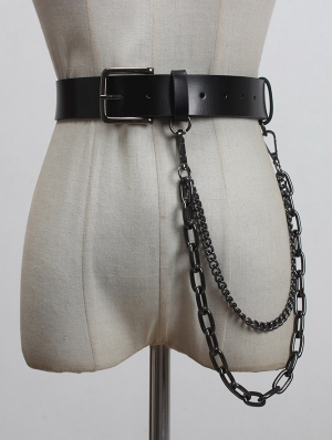 Black Gothic Punk PU Leather Buckle Belt with Long Metal Chain