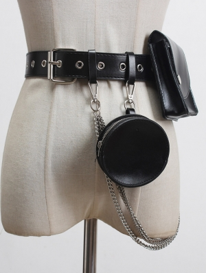 Black Gothic Punk PU Leather Chain Buckle Belt with Bag