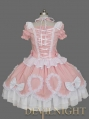 Pink and White Halter Short Sleeves Ruffles Bow Gothic Lolita Dress