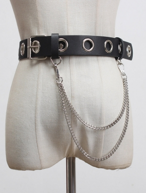 Black Gothic Punk PU Leather Pin Buckle Belt with Chain