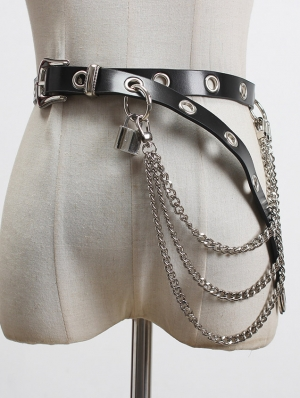 Black Gothic Punk Leather Buckle Belt with  Lock and Chain