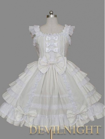 Ivory and White Bow Ruffles Sleeveless Sweet Lolita Dress