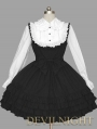 Black and White Long Sleeves School Gothic Lolita Dress