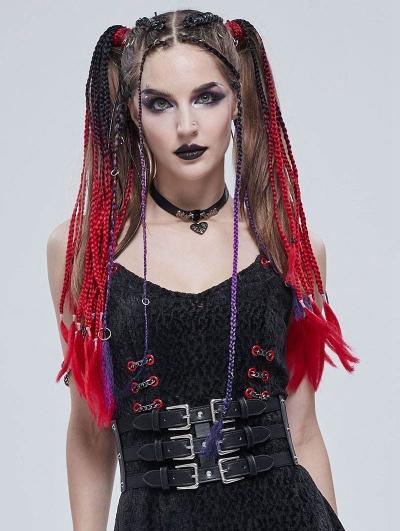 Black Gothic Punk Rivet Metal Buckle Wide Girdle for Women