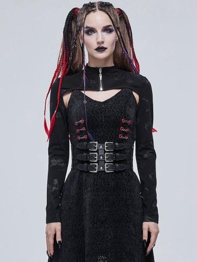 Black Gothic Patterned Long Sleeve Short Cape for Women