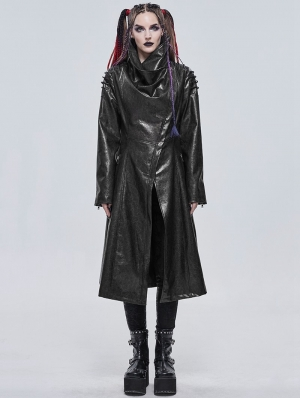 Black Gothic Punk Do Old Style PU Leather Long Coat for Women