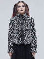 Black and White Gothic Grunge Fur Warm Short Jacket for Women