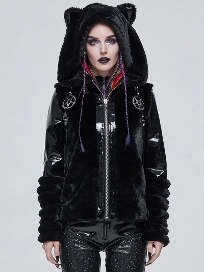 Black Gothic Cute Casual Warm Fur Short Hooded Jacket for Women