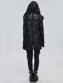 Black Gothic Punk Irregular Hooded Trench Coat for Women
