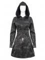 Dark Gray Gothic Punk Pentagram Hooded Long Coat for Women